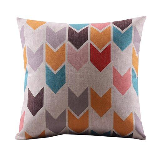 "Create For-Life Cotton Linen Decorative Pillowcase Throw Pillow Cushion Cover Square 18"" Retro Bold Arrows"