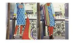 Elegant Attyres Women's Cotton Unstitched Dress Material (Elegant Attyres_10_Bottlegreen_Free Size)