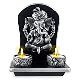 Archies Polyresin Ganesha Candle Holder (Silver, 15 cm x 8.5 cm x 19 cm)