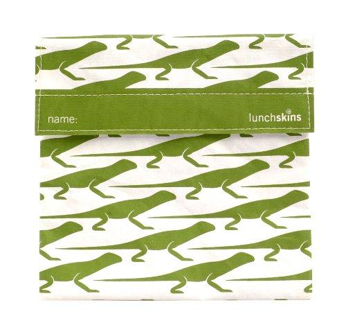 LunchSkins Reusable Sandwich Bag, Green Lizard - 1