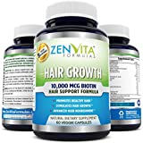 Hair Growth Vitamins with 10,000 mcg Biotin + 18 Hair Nourishing Vitamins, DHT Blocker, Help Address Deficiencies related to Hair Loss and Baldness*, Support Healthy Hair, Skin, and Nail for Both Men and Women*. 60 Veggie Capsules. No Hassle 100% Money Back Guarantee by ZenVita Formulas