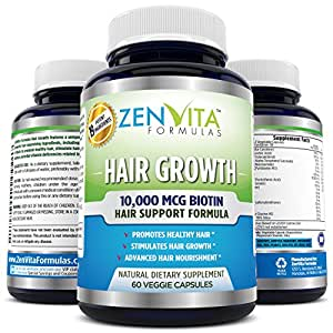 Hair Growth Vitamins with 10,000 mcg Biotin + 18 Hair Nourishing Vitamins, Help Address Deficiencies related to Hair Loss and Baldness*, Support Healthy Hair, Skin, and Nail for Both Men and Women*. 60 Veggie Capsules. No Hassle 100% Money Back Guarantee by ZenVita Formulas