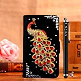 Locaa(TM) Sony Xperia M2 SonyM2 Sony M2 S50h 3D Bling Peacock Case + Phone stylus + Anti-dust ear plug Deluxe Luxury Crystal Pearl Diamond Rhinestone eye-catching Beautiful Leather Retro Support bumper Cover Card Holder Wallet Cases [Peacock Series] Blac
