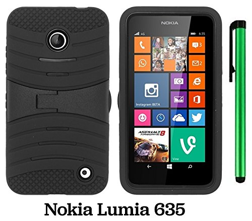 Premium Ucase With Kickstand Cover Case For Nokia Lumia 635 (Us Carrier: T-Mobile, Metropcs, And At&T) + 1 Of New Assorted Color Metal Stylus Touch Screen Pen (Black / Black)