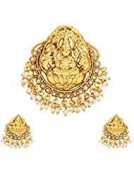Ethnic Indian Artisan Jewelry Set Pendant Set Without ChainABPE0232WH