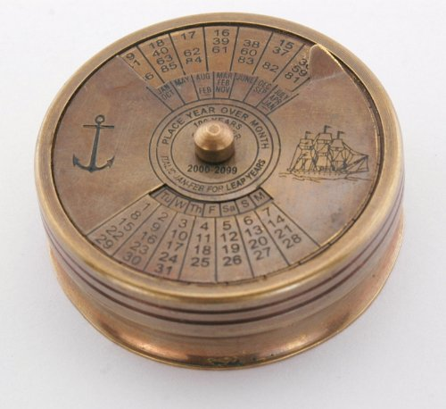 Maritime Brass Poem Compass with 99 Year Calendar Antique Reproduction