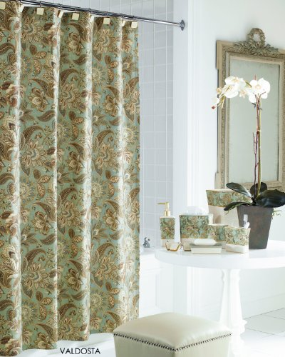 J Queen New York Valdosta Aqua Jacobean Floral Fabric Shower Curtain