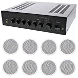 Store/Office Business Background Music Sound System- Amp, 8 Ceiling Speakers +