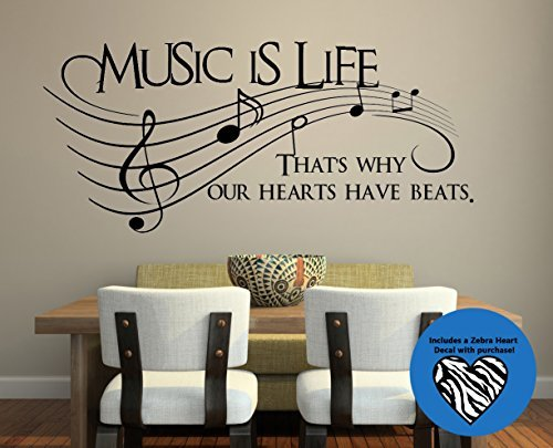 Living Room Picture Art Wall Decal Sticker (24x36inch)Music Is Life.. That's Why Our Hes Have Beats 30