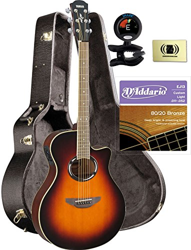 Yamaha Apx500Ii Old Violin Sunburst Acoustic Electric Guitar Travel Bundle With Hard Case, Tuner, Strings And Cloth front-178429