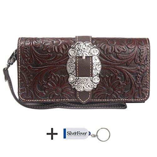 montana-west-clutch-style-try-fold-wristlet-wallet-w-key-chain-coffee-tooled-trinity-ranch-leather