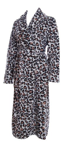 Lady Olga Luxury Fleece Leopard Print Dressing Gown - 4 Sizes