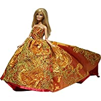 Princess Evening Wedding Party Clothes Wears Dress Outfit Set For Barbie Doll With Hat
