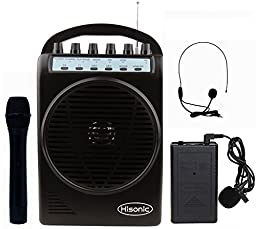 Hisonic HS128MP3 Lithium Rechargeable Battery Wireless Portable PA System with USB & SD Port MP3 Player with Car Cigarette Lighter Cable (HS120B+MP3 Player Black)