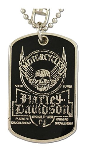 Harley-Davidson Dog Tag, Winged Skull Distressed Chain/Keychain, Silver 8002763