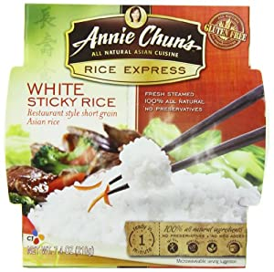 Annie Chun's Rice Express Sticky White Rice, 7.4-Ounce Microwavable Bowls (Pack of 6)