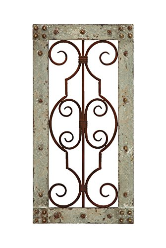 Deco 79 Antiqued Wooden and Metal Wall Panel with Vintage Ruggedness 0