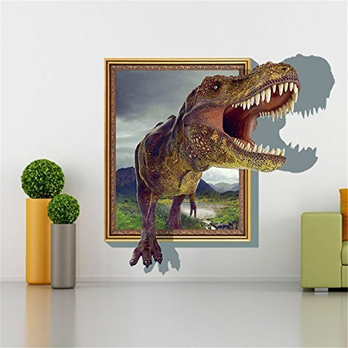 Sucis 3D Running Tyrannosaurus rex Dinosaur Unique Removable Mural Wall Stickers Wall Decal for Home Decor by BATA