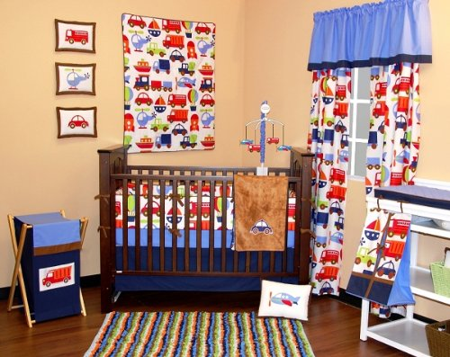 Transportation Multicolor 10 pc Crib Set Bumper free