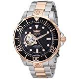 Invicta Men's 13708 Grand Diver Automatic Black Textured Dial Two-Tone Stainless Steel Watch (Color: black)