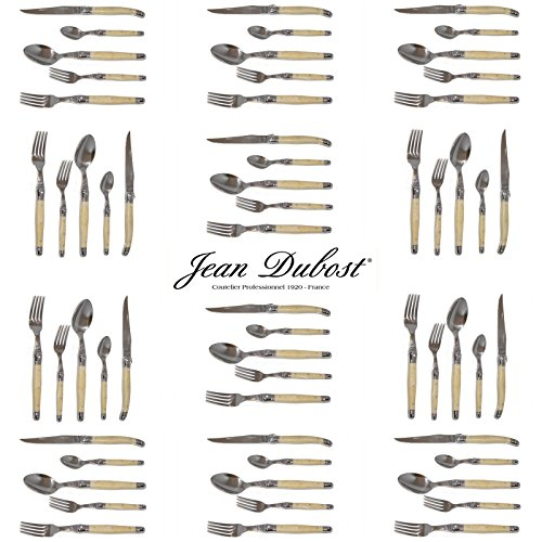 French Laguiole Dubost - Horn - Complete Flatware Set For 12 People (60 Pcs) - In Heavier 25/10 Stainless Steel (Official Color Full Family Quality Cutlery Dinner Setting - With Certificate Of Authenticity - Direct From France)