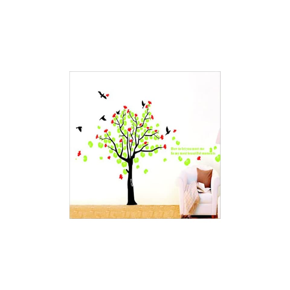 Modern House Giant Tree and Bird II removable Vinyl Mural Art Wall Sticker Decal