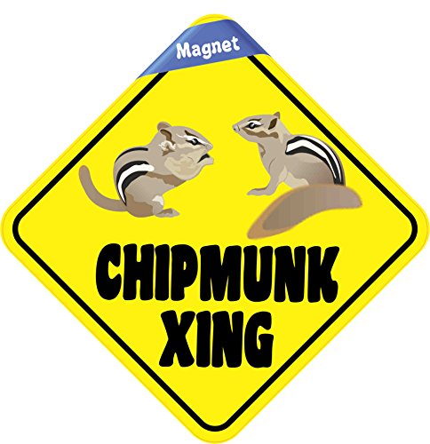 6in x 6in Chipmunk Crossing Magnet Caution Vinyl Animal Road Sign Magnets