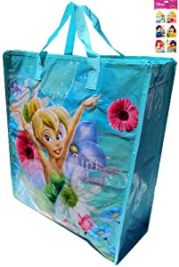 "Tinkerbell Tote Bag Extra Large Waterproof with Zipper (18""x16""x7"" Non-woven) and a Rare 4-sheet Disney Princess Stickers Set (3""x6"") ---- Use These as Tinkerbell Gift Bags and Tinkerbell Party Favors Bags - Stickers Feature Ariel, Snow White, Belle, Jasmine, Cinderella and Little Mermaid"