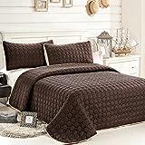 C.CTN 3pc Reversible Quilt Set,Queen Size,Brown/Beige
