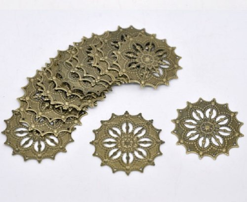 Bag of 5 Filigree Flower Wrap Jewelry Pieces 1.7 Inches or 43 mm