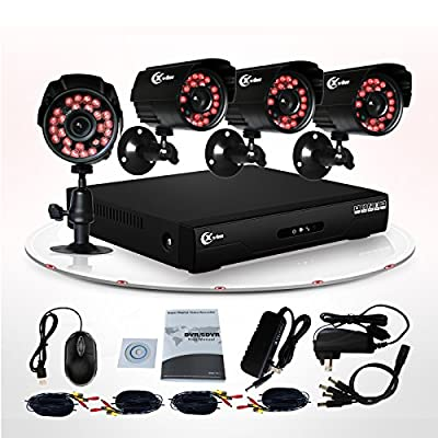 Xvim 4CH Security Camera System CCTV Surveillance System with 4CH 960H DVR 4pcs 700TVL Security Cameras Outdoor Metal Housing Weatherproof Hard Drive Not Included -100feet Night Vision -IR Cut build in -Quick Remote Access via smart phone