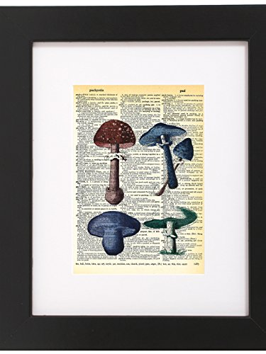 Dictionary Art Print Mushrooms Printed On Recycled