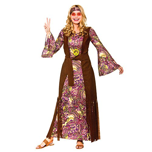 Ladies Summer of Love Costume. Includes Long dress with attached coat, peace necklace, headband. Standard Size.