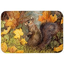 "Caroline's Treasures BDBA0097CMT ""Grey Squirrel in Fall Leaves"" Kitchen or Bath Mat, 20"" H x 30"" W, Multicolor"