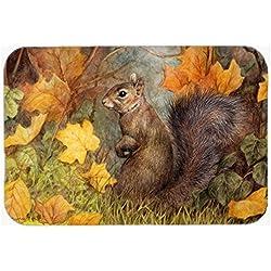 "Caroline's Treasures BDBA0097CMT ""Grey Squirrel in Fall Leaves"" Kitchen or Bath Mat, 20"" H x 30"" W, Multicolor"