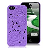Niceeshop(TM) Purple 3D Rose Flower Carving Hard Case Cover for iPhone5 5S +Screen Protector
