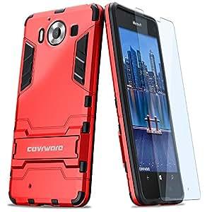 COVRWARE® Lumia 950 Case - [Slim Series] Armor Protective Case [ Kickstand ] [ Slim Fit ][ Screen Protector ] For Microsoft Lumia 950 - Red (CW-950-SL03)