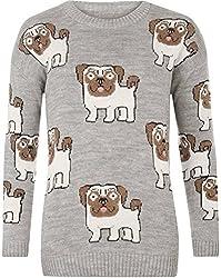 Women's Pug Dog Print Long Sleeve Crew Neck Knitted Jumper Top