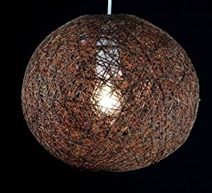"""Brown - 10"""" Dia Abaca Rattan Ball Ceiling Light Lamp Pendant Shade by OnlineDiscountStore"""