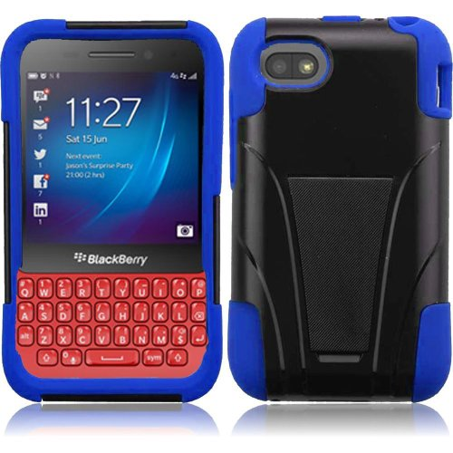 Cell Accessories For Less (Tm) For Blackberry Q5 T-Stand Cover Case - Black+Blue - By Thetargetbuys *Free Shipping*