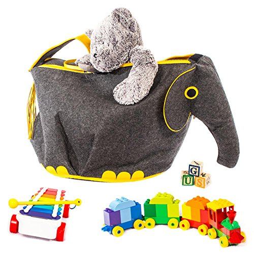 G.U.S Noah's Ark Toy Chests with Easy Open, Double-Pull Zipper Handle, Elephant, Gray with Yellow (Newco Adult compare prices)