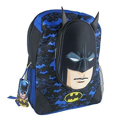 NWT Boys 3d Batman Backpack School Book Bag 16 Inch Blue Bat Man Back Pack Face