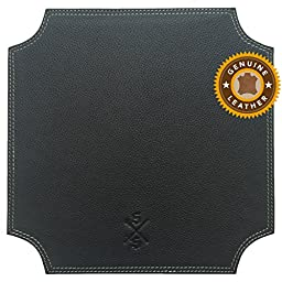 Sword & Scepter8482; Buffalo Hide Leather Mouse Pad | Premium Mousepad for Executives and Gaming | Black