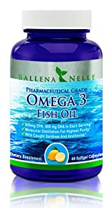 Omega 3 Fish Oil: Ballena Nelle Best Pharmaceutical Grade Fish Oil Supplement - Molecularly Distilled, Third Party Tested 1400mg EPA DHA (800mg EPA/600mg DHA) in Each 2 Capsule Serving Means Perfect Omega 3 Concentration Supporting Optimum Health for Women, Men and Kids. Only One to Two Capsules Daily for Maximum Benefit 60 Softgel Capsules