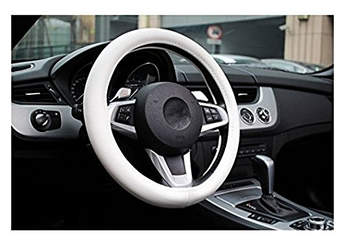BEISHUO PU Leather Car Steering Wheel Cover Size:S(37cm) (White) (White Hubcaps 14 compare prices)