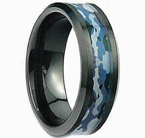"""8Mm """"Navy Seal Night Assault"""" U.S. Marines/Army/Navy Military Black Ceramic Blue-Gray-Black Terrain Trenches Camouflage-Camo Design Inlay Comfort-Fit Wedding Ring Size 7-15 & Half Sizes (Laser Engravable) (7.5)"""