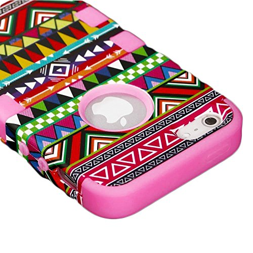 Mylife Bubblegum Pink - Colorful Tribal Print Series (Neo Hypergrip Flex Gel) 3 Piece Case For Iphone 5/5S (5G) 5Th Generation Smartphone By Apple (External 2 Piece Fitted On Hard Rubberized Plates + Internal Soft Silicone Easy Grip Bumper Gel)