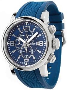 DETOMASO Herrenuhr Quarz Edelstahlgehäuse Silikonarmband Mineralglas FOLIGNO XXL Chronograph Trend blau/blau DT1040-A
