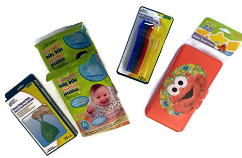 Diaper Bag Essentials Bundle Disposable Bibs Refillable Wipes Case Spoons More