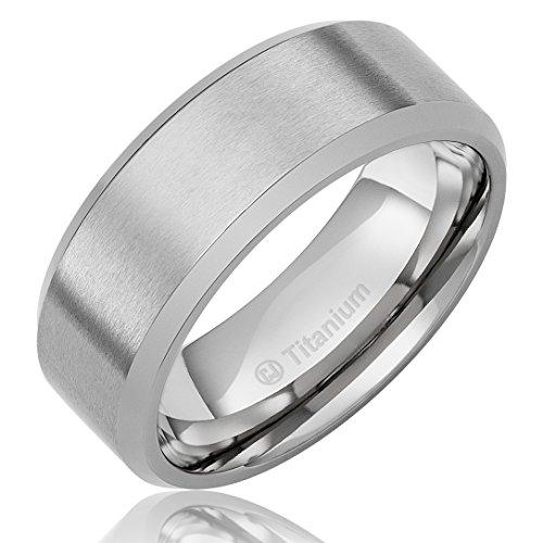 8Mm Men'S Titanium Ring Wedding Band With Flat Brushed Top And Polished Finish Edges [Size 8]